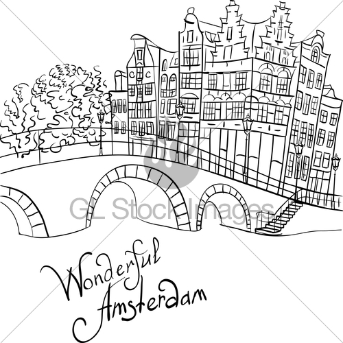 500x500 Vector City View Of Amsterdam Canal And Bridge Gl Stock Images