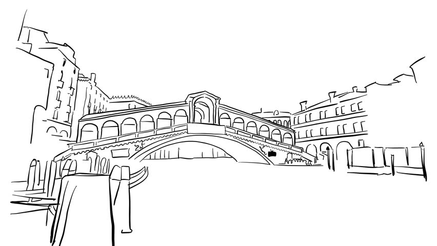 852x480 Venice Grand Canal Animated Sketch On White, Outline Drawing
