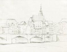 236x181 Berlin Canal, Watercolor Sketch, Original Drawing, Pencil