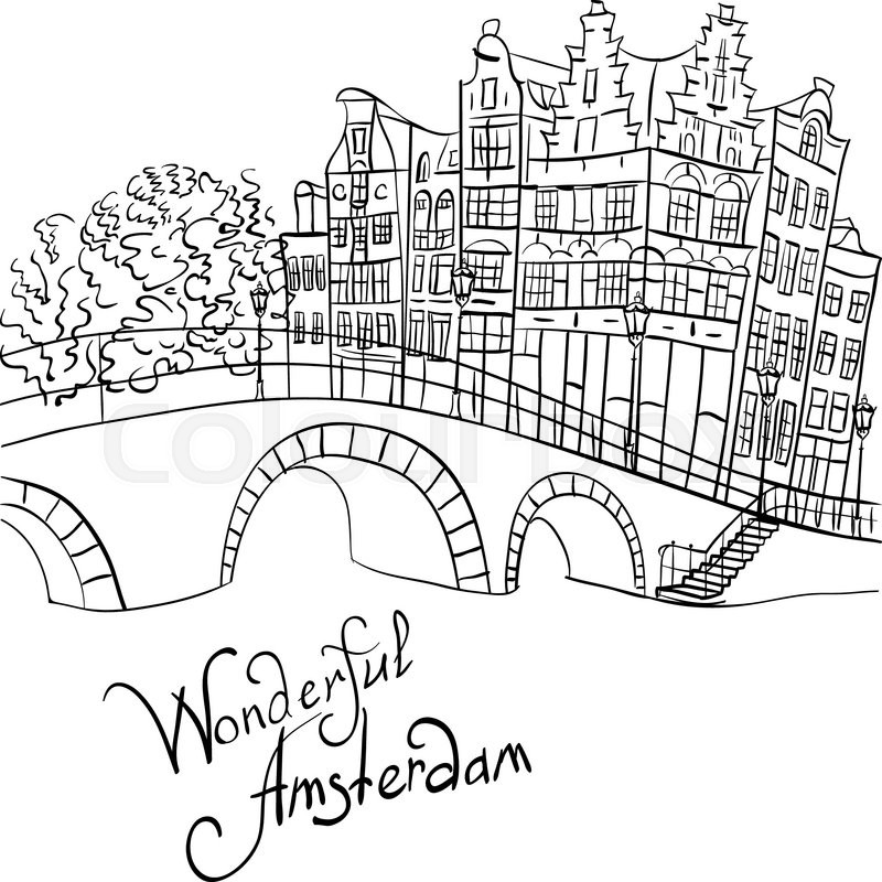 800x800 Black And White Hand Drawing, City View Of Amsterdam Canal, Bridge