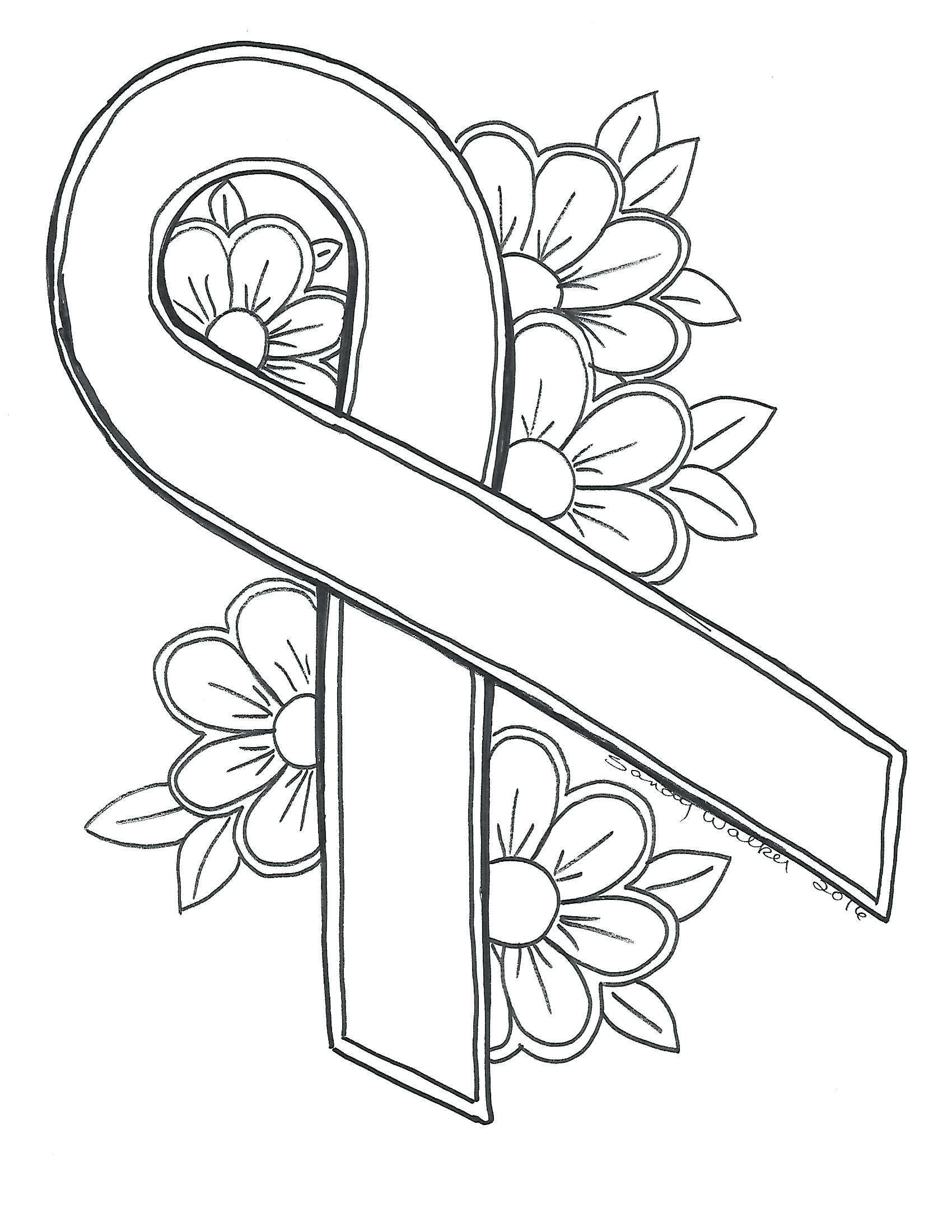 1700x2200 Coloring Cancer Ribbon Coloring Page