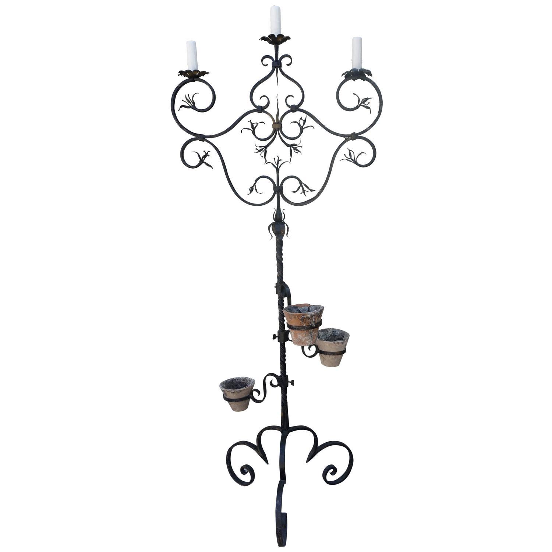 1500x1500 Spanish Three Light Wrought Iron Candelabra Lamp Melissa