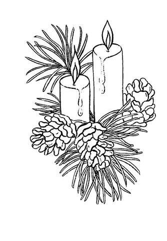334x480 Beautiful Christmas Candles Coloring Page Free Printable