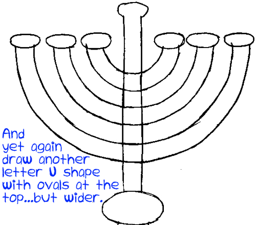 500x440 How To Draw Hanukkah Menorahs With Easy Step By Step Drawing