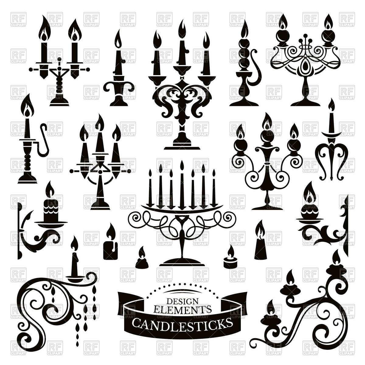 1200x1200 Silhouettes Of Candlesticks And Candles Royalty Free Vector Clip
