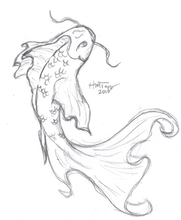 625x759 Koi Fish Drawings In Pencil