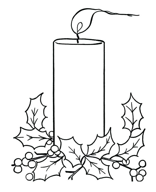 600x738 Candle Coloring Candle On Light On Coloring Page Advent Candle