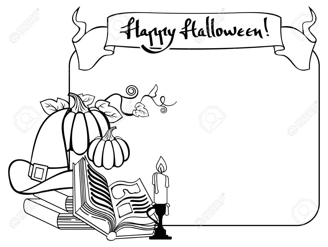 1300x980 Contour Halloween Frame With Witch Hat, Magician Books