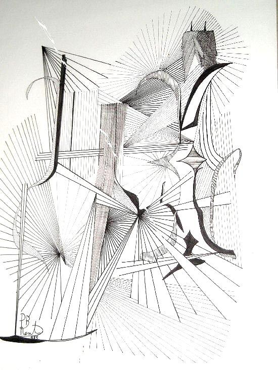 550x733 Bottle And Candlestick Drawing By Paul Bonnie Kent