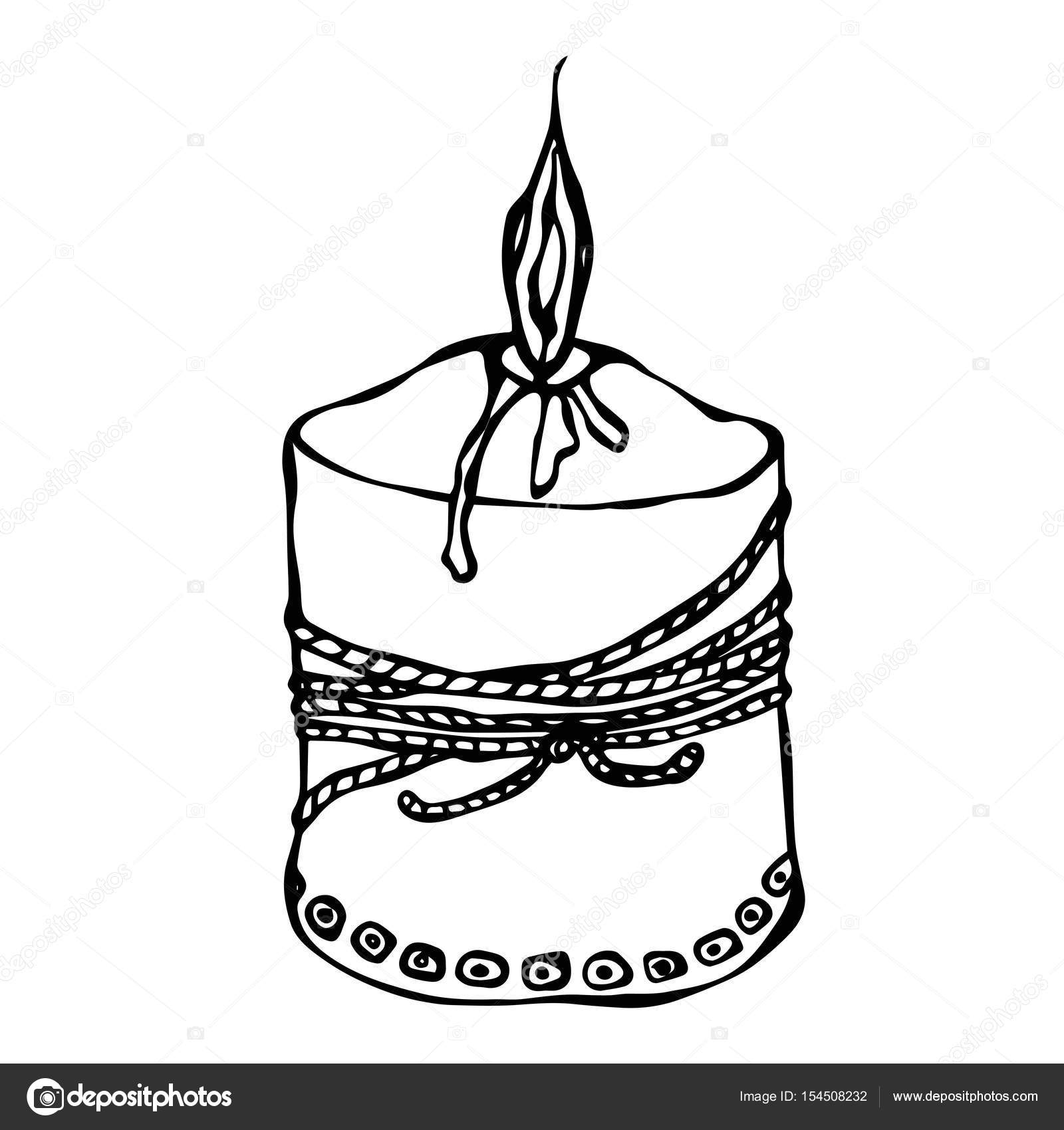 1600x1700 Fat Burning Candle With Ribbon. Ink Vector Illustration Isolated