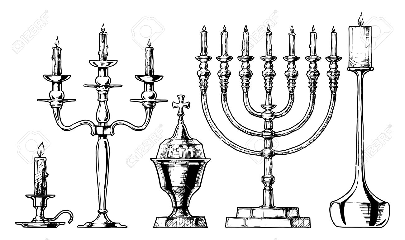 1300x771 Vector Hand Drawn Sketch Of Candlesticks Set In Ink Hand Drawn