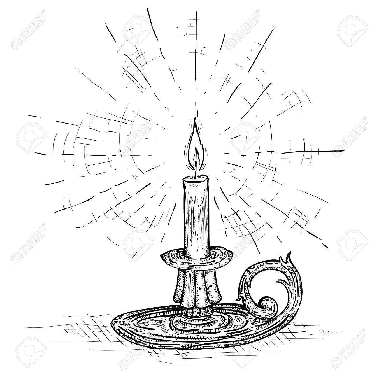 1300x1300 Candle On Candlestick Burning With Light Of Hope And Faith Royalty