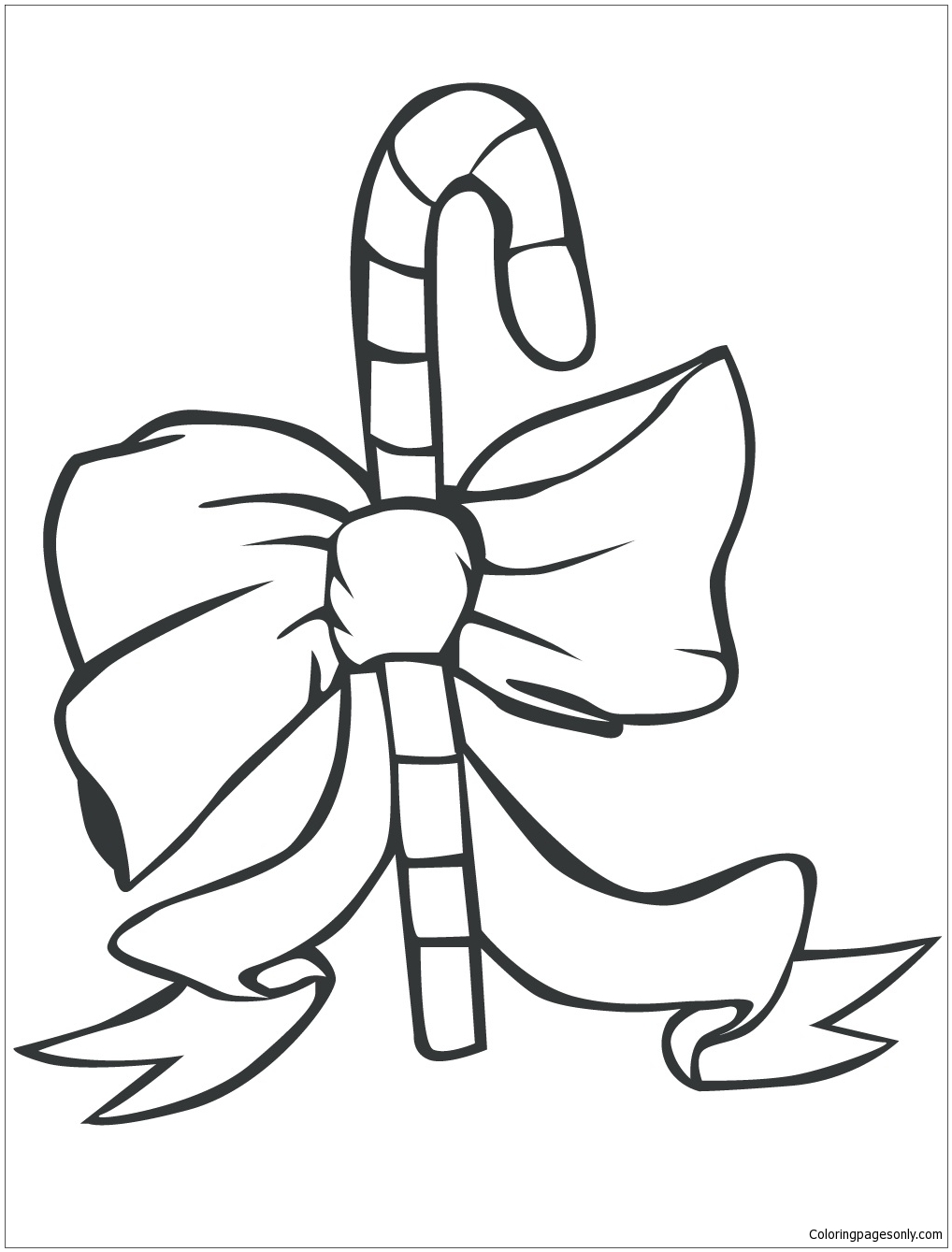 1018x1339 Candy Cane With Bow Coloring Page