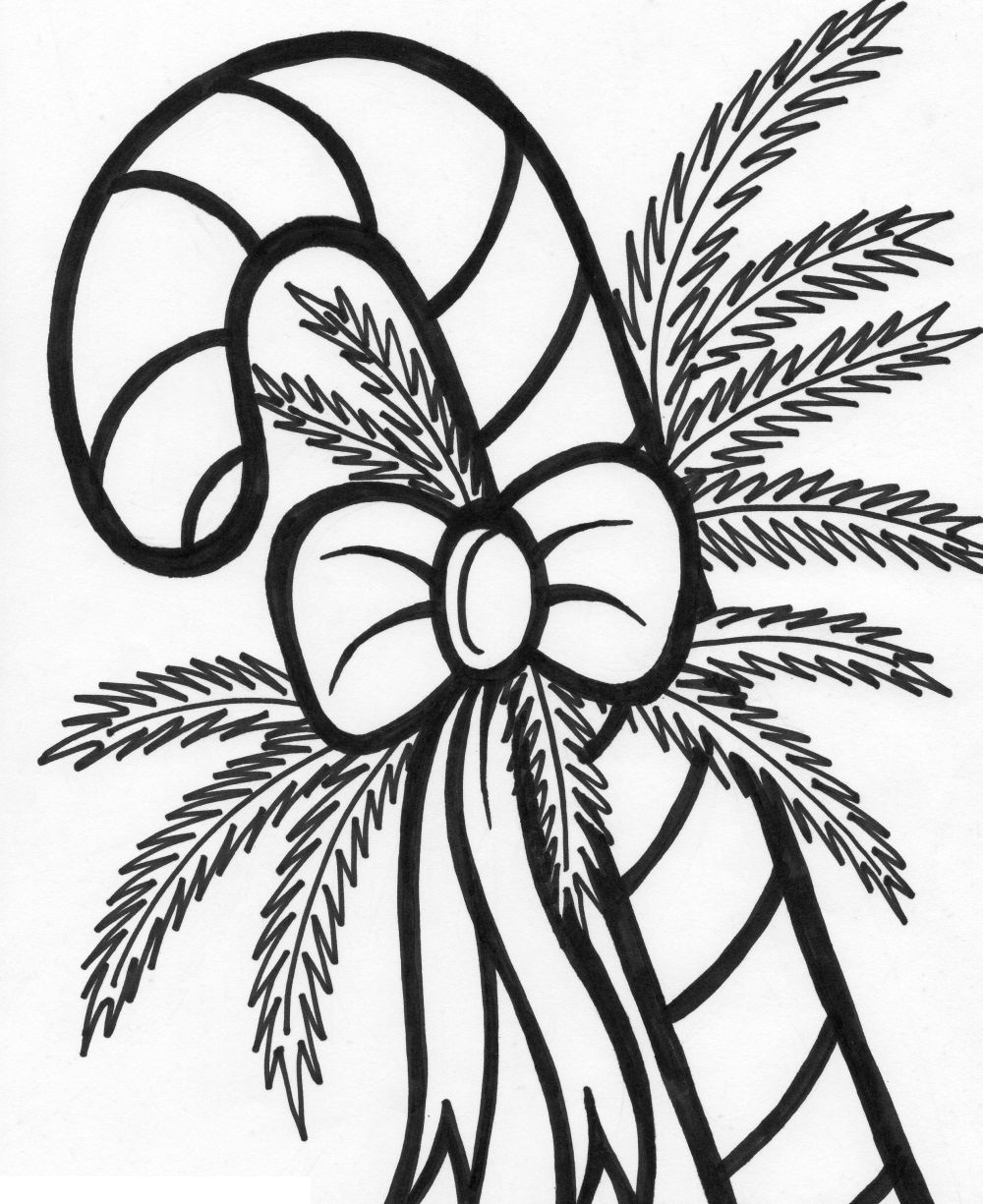 Christmas Candy Cane Prints - Worksheet & Coloring Pages