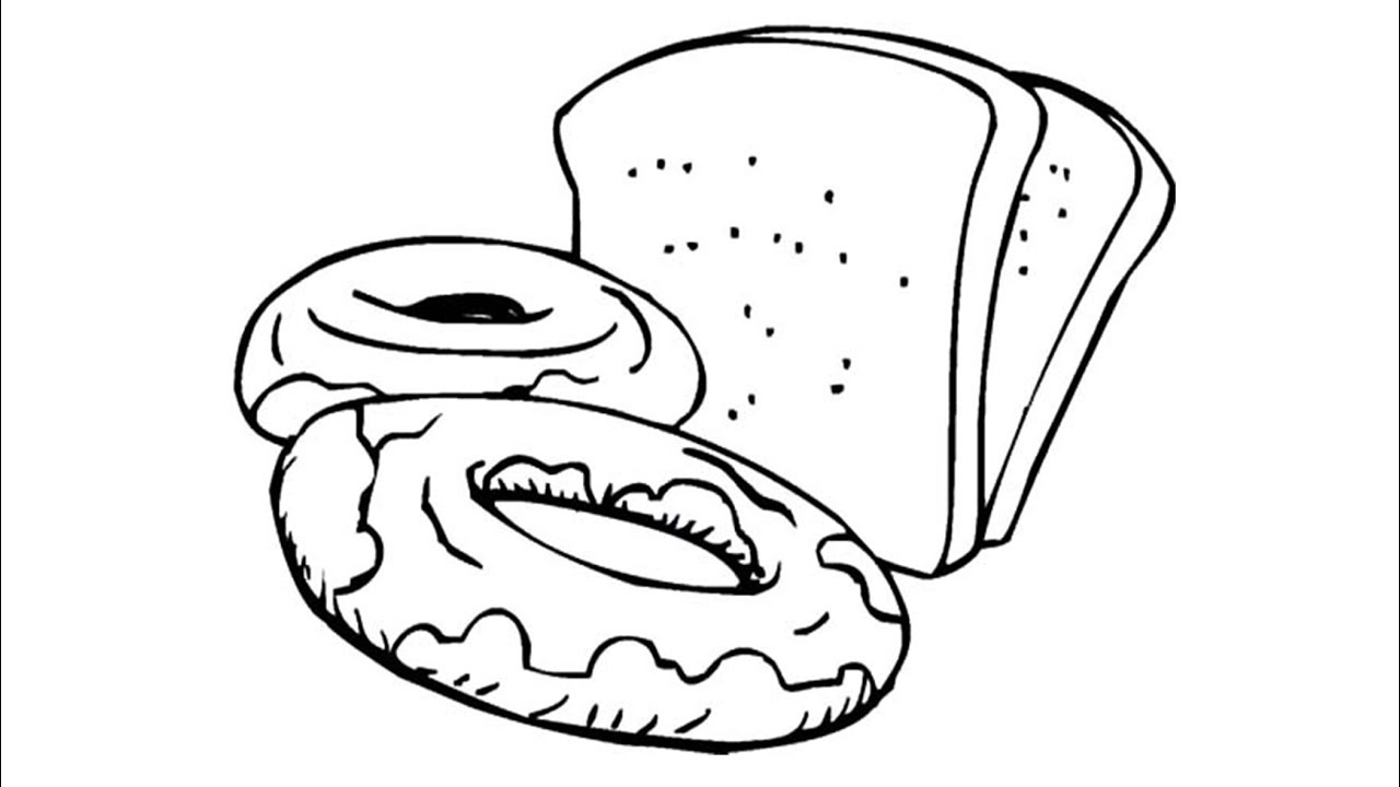 1280x720 Donut And Bread Coloring Page