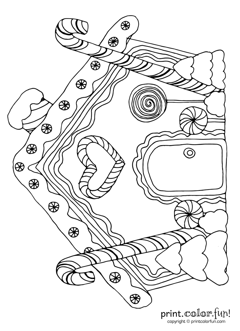 800x1100 Gingerbread House With Candy Canes Coloring Page