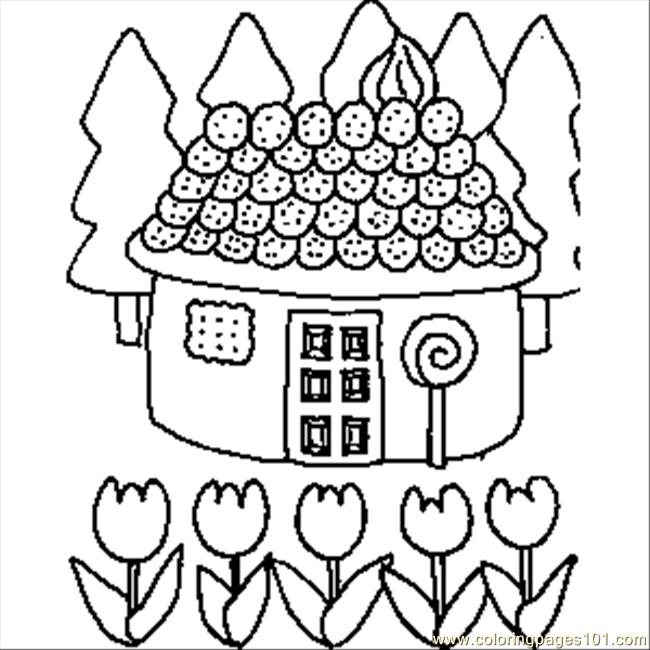 650x650 Candy House Coloring Page