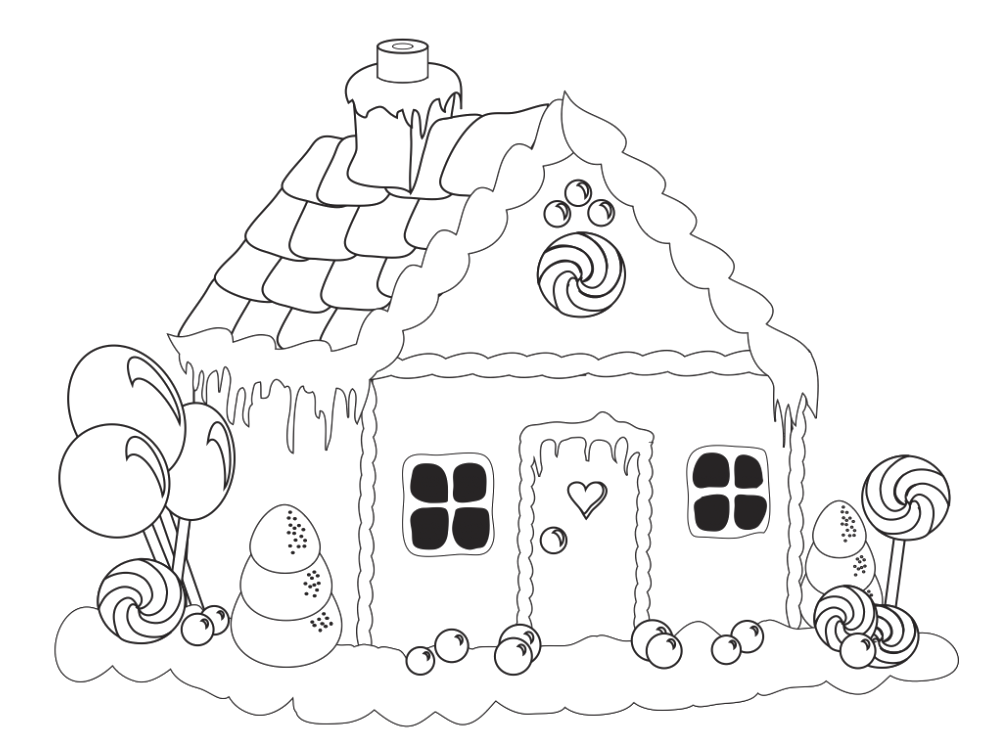 989x733 Candy Houses Coloring Pages