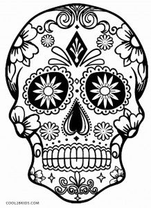 218x300 Simple Sugar Skull And Day Of The Dead Adult Coloring Pages