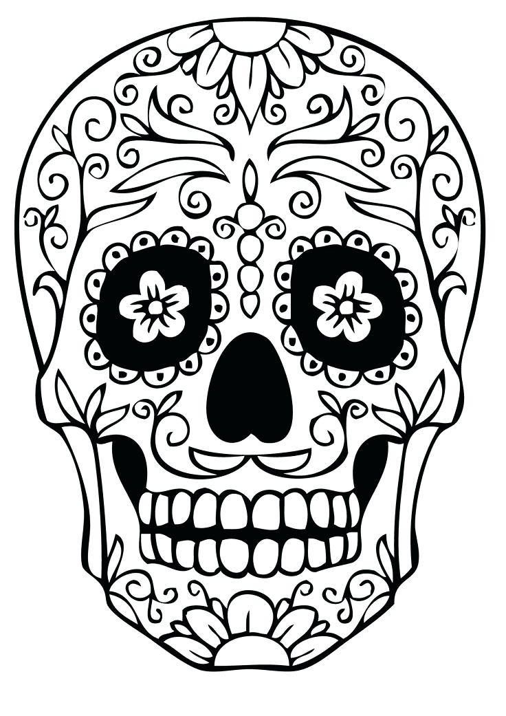 736x1041 Sugar Skull Drawing Pages Sketch Coloring Page Skulls Printable