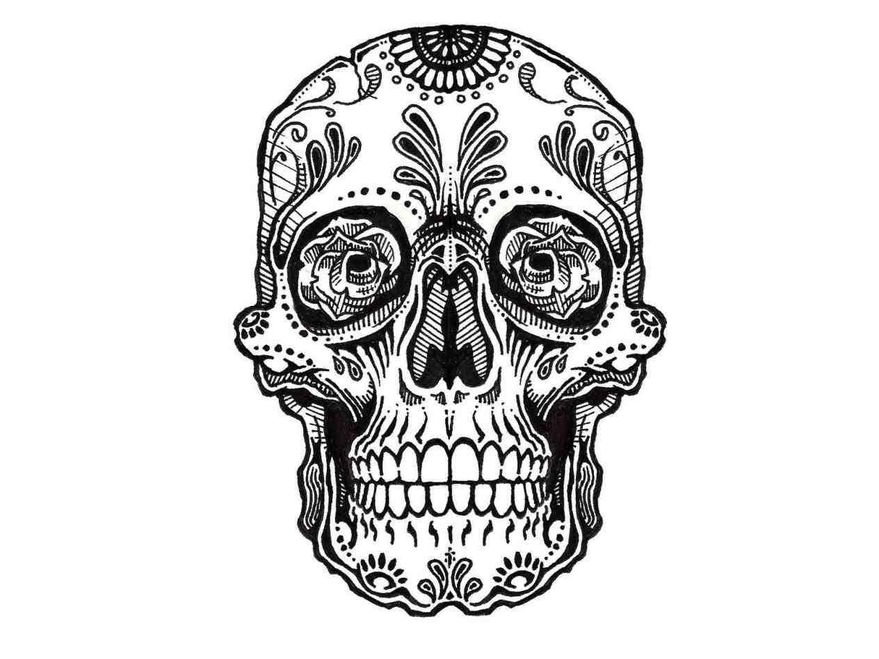 1264x948 Awesome Sugar Skulls Coloring Pages 56 In Line Drawings With Sugar