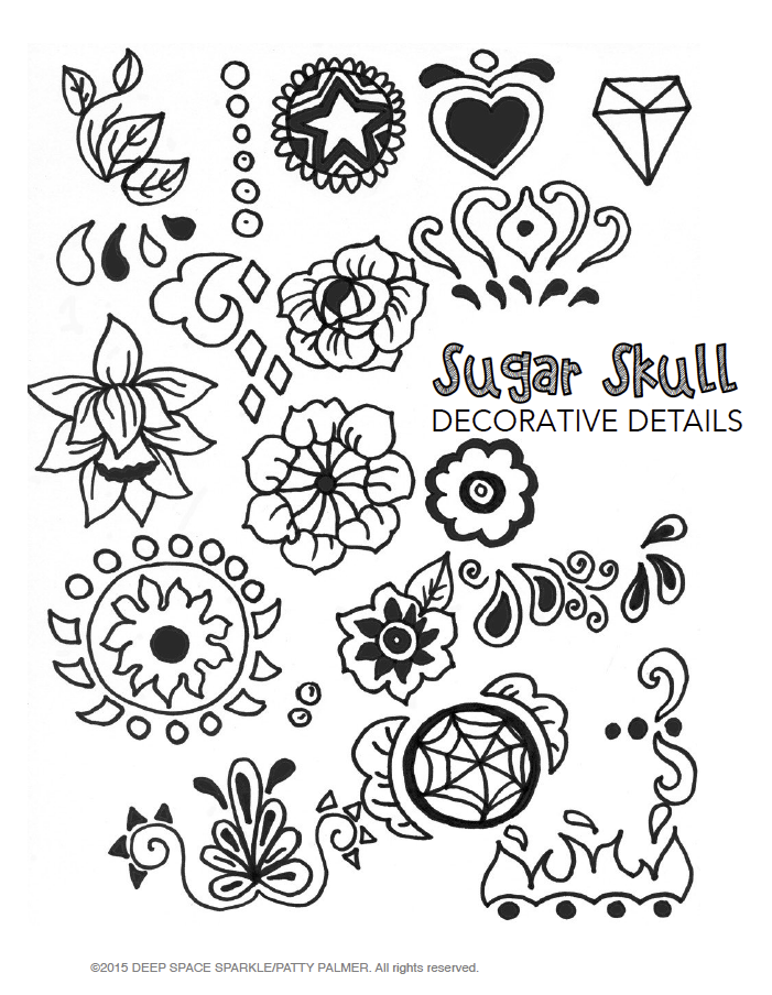 701x904 Drawn Sugar Skull Decorated