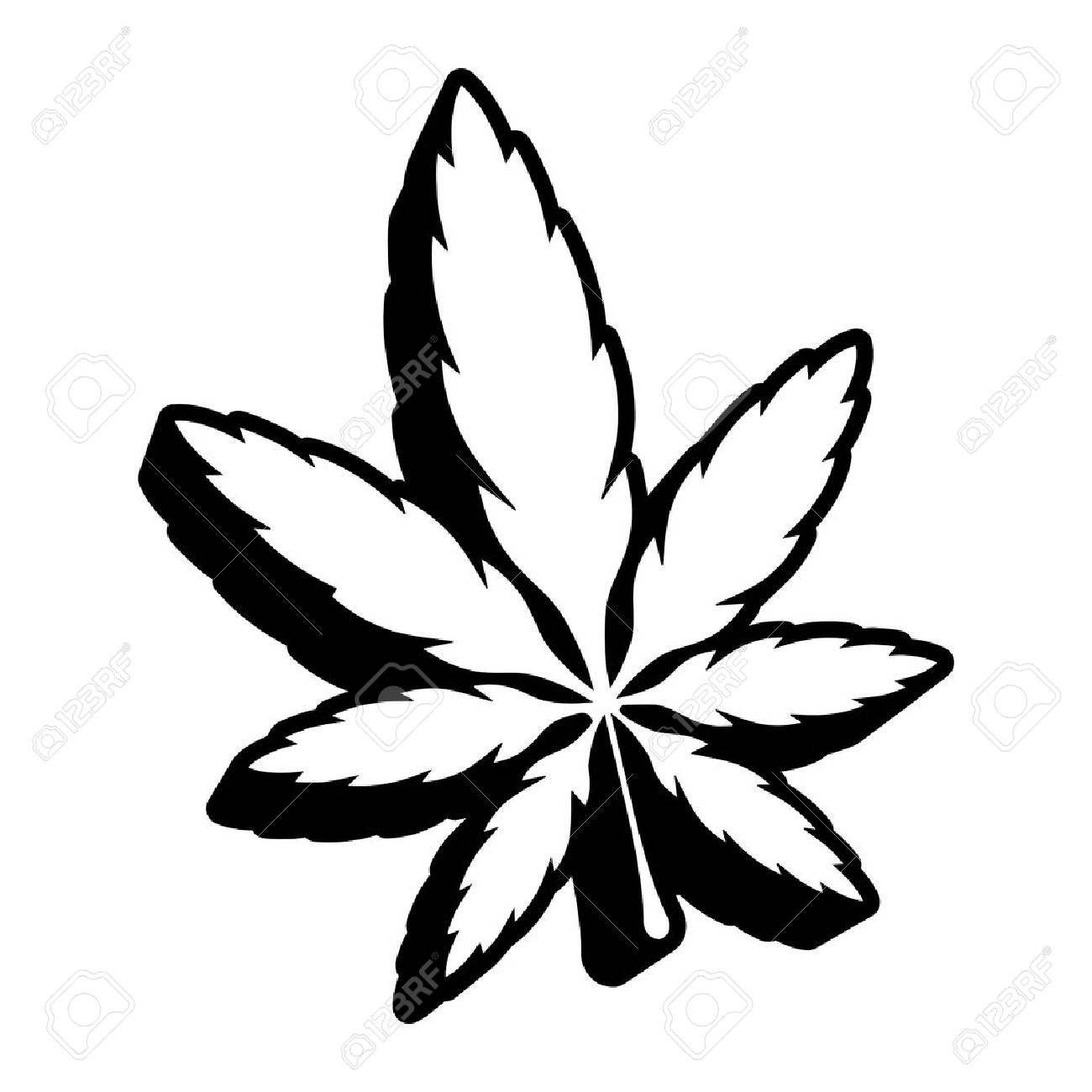 1300x1300 Drawn Marijuana Leaf Vector