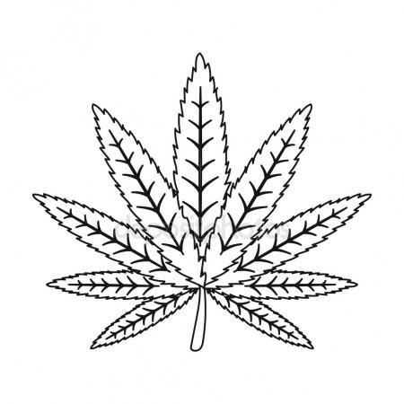 450x450 Marijuana Leaf Icon In Outline Style Isolated On White Background