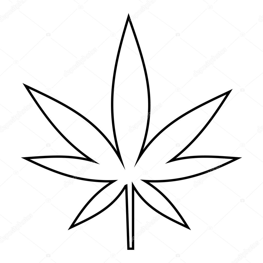 1024x1024 Cannabis Leaf Icon, Outline Style Stock Vector Ylivdesign