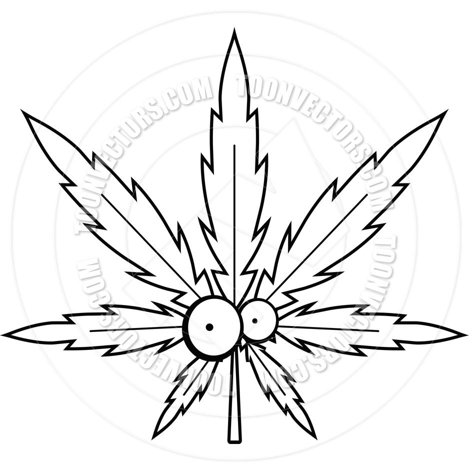 940x940 Cartoon Marijuana Leaf (Black And White Line Art) By Cory Thoman