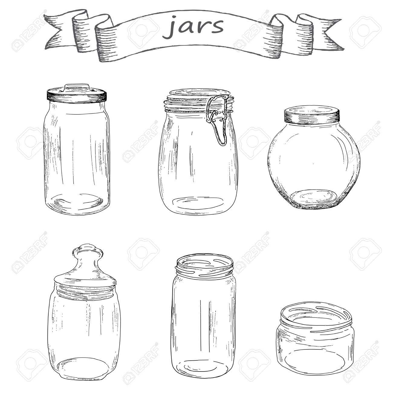 1300x1300 Glass Jars. Hand Drawing Set Of Vector Sketches Royalty Free