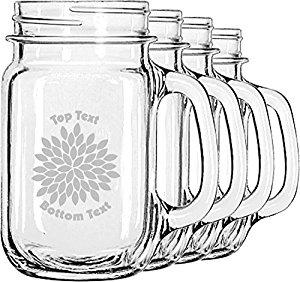 300x282 Mums Flower Mason Jar Mugs (Set Of 4) (Personalized