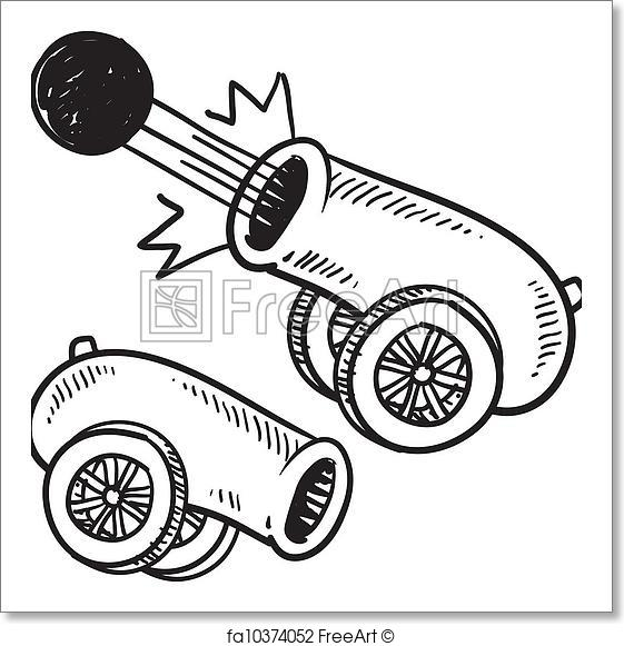 561x581 Free Art Print Of Retro Cannon Sketch. Doodle Style Old Style