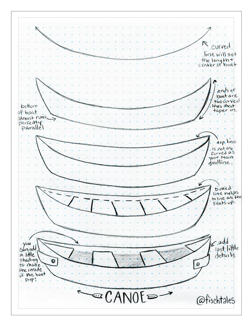850x1100 How To Draw A Canoe Tutorial Drawing Tutorial