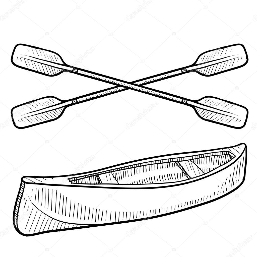 1024x1024 Canoe And Paddle Sketch Stock Vector Lhfgraphics