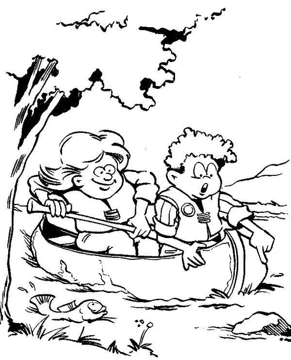 600x741 Canoeing Catch Fish In Scouting Coloring Pages Best Place
