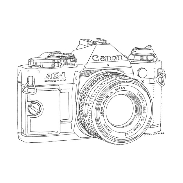This is a photo of Zany Canon Camera Drawing