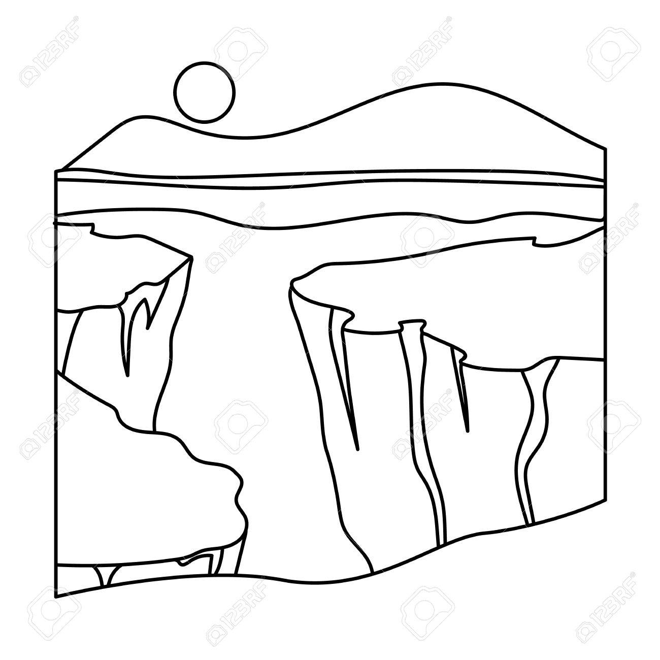 1300x1300 Grand Canyon Icon In Outline Style Isolated On White Background