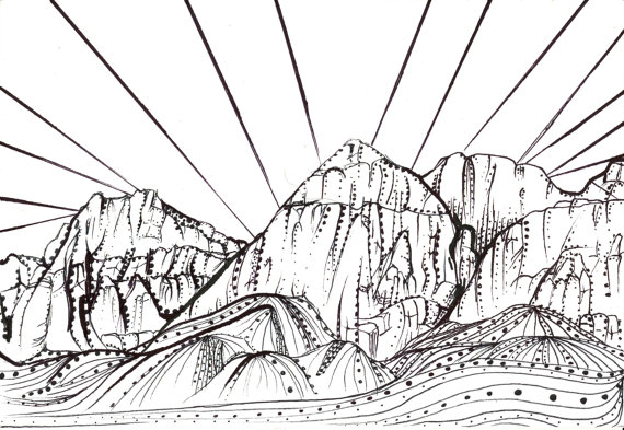 570x393 Items Similar To Coloring Page Sunset On Red Rock Canyon On Etsy