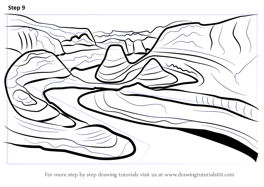 845x598 Learn How To Draw Grand Canyon (Wonders Of The World) Step By Step