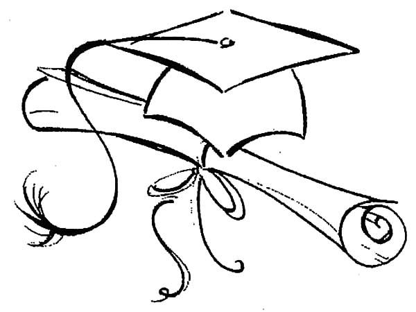 600x450 Graduation Cap And Gown Coloring Pages Graduation Hat