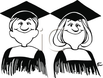 350x266 Royalty Free Clipart Image Graduation Cartoon Of Twins In Cap