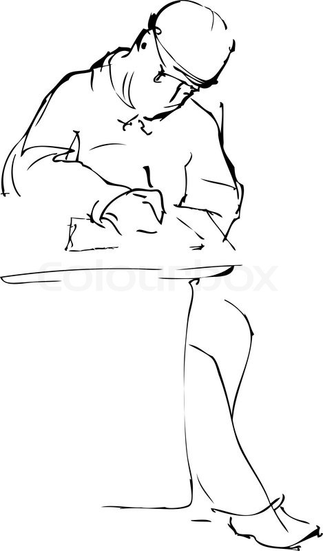 469x800 Sketch A Man In A Cap Is Sewn Down