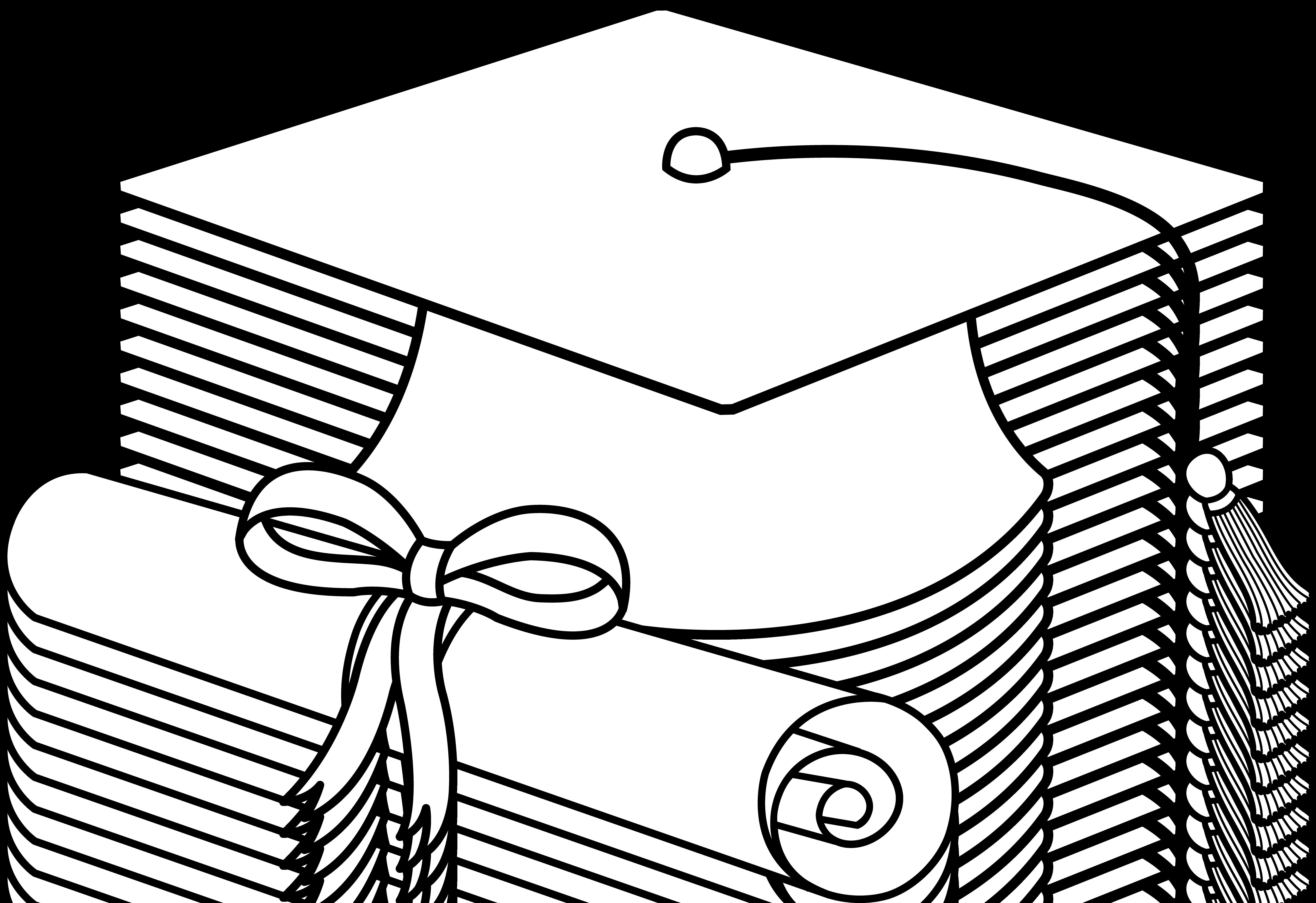 7334x5034 Top Of Graduation Cap Coloring Sheet