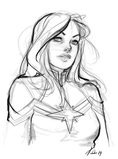 413x557 Sketch Cap Marvel By Krhart