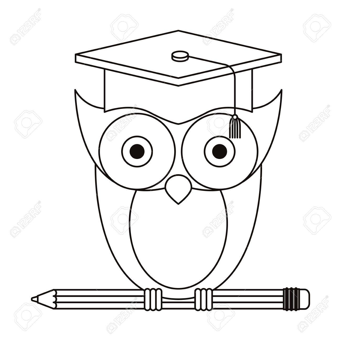 1300x1300 Sketch Silhouette Of Owl Knowledge With Cap Graduation On Pencil