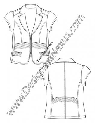 316x409 Cap Sleeve Blazer V22 Free Fashion Flat Sketch Template