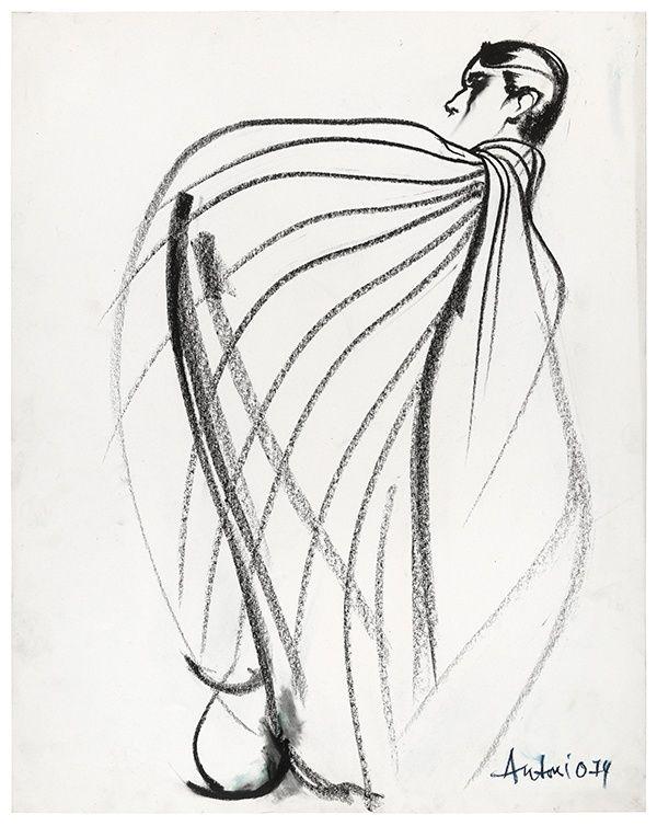 600x754 Antonio Lopez, Charles James Ribbon Cape Drawing 2, 1974 Gesture