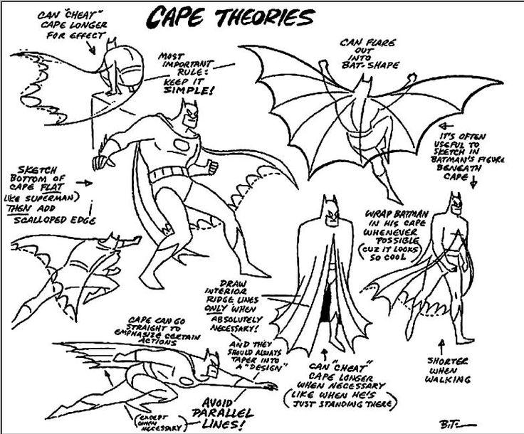 736x610 Bruce Timm's Notes On Drawing Batman's Cape Dccomics