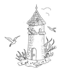 236x287 Coloring Gulls Fly Around The Lighthouse Picture Lighthouse Fun